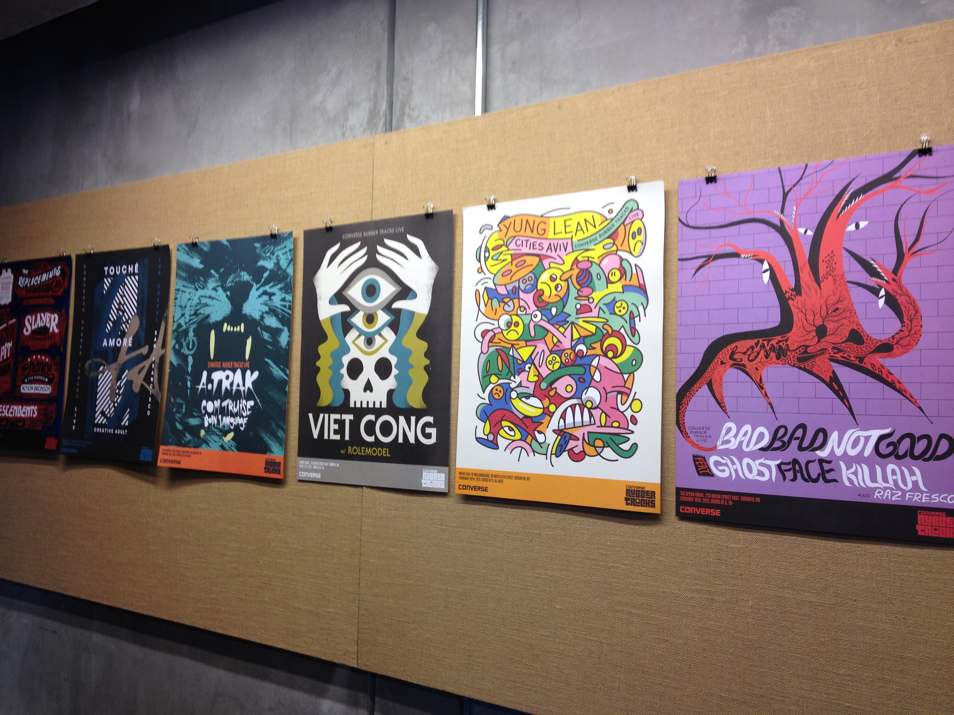 Posters of bands that performed for Rubber Tracks Live | Photo by Hallie Smith