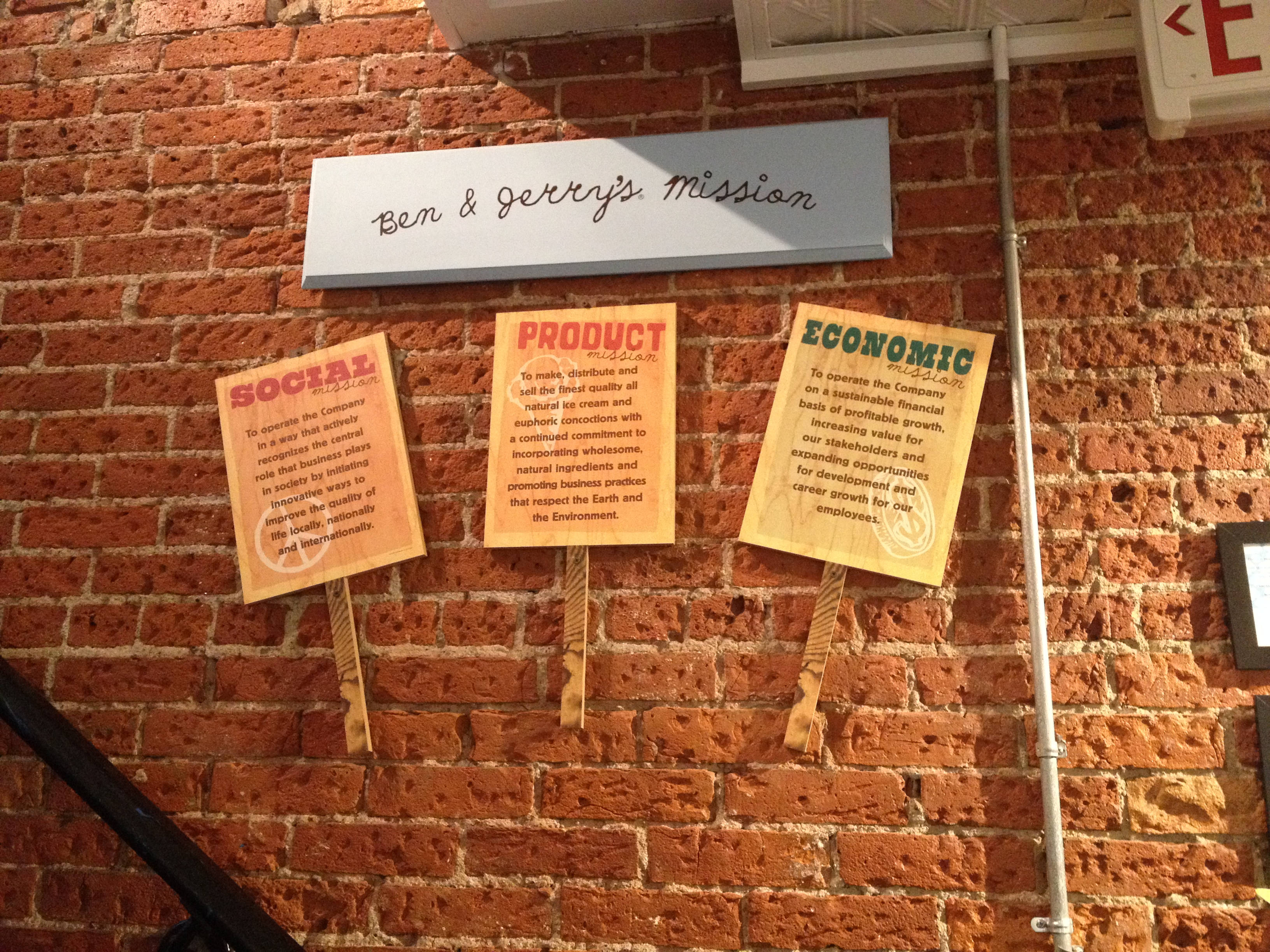 Ben & Jerry's has their three-part mission posted in their shop. | Photo by Hallie Smith