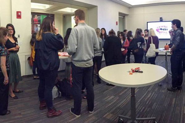 The crowd gathered for the domestic violence panel in Questrom on Friday, November 6, 2015. | Photo Courtesy TKTK