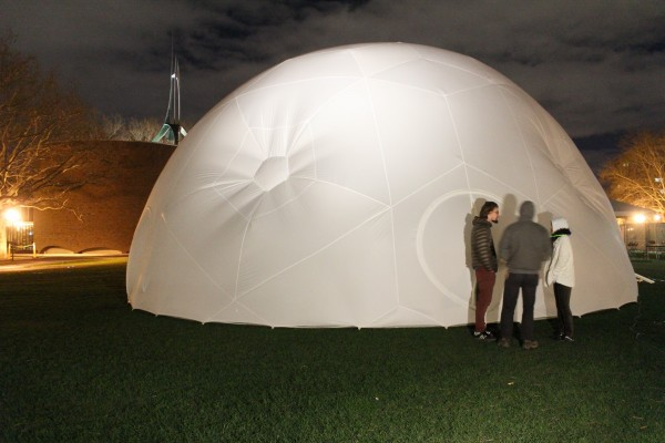 The RISD/Brown STEAM Pavilion created in collaboration with Providence-based design collective, Pneuhaus. The inflatable space, completed in September 2015, serves as gallery, workshop environment and presentation room. | Photo courtesy RISD STEAM