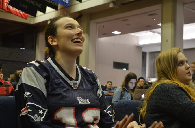 Lauren Malsick (CAS'18) reacts to a good play by the Patriots.
