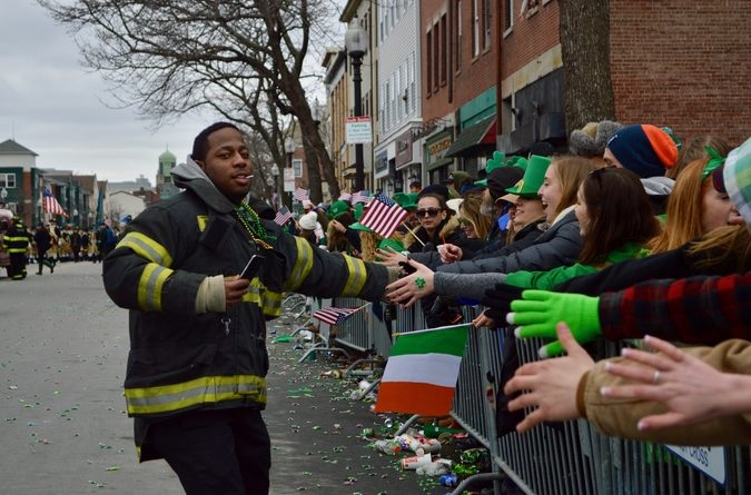 Firefighters were greeted with enthusiasm from the crowd.